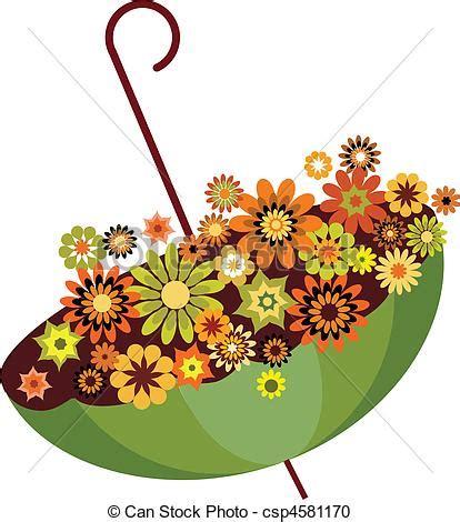 elenco fiori autunnali clipart vettoriali di autunno verde ombrello pieno