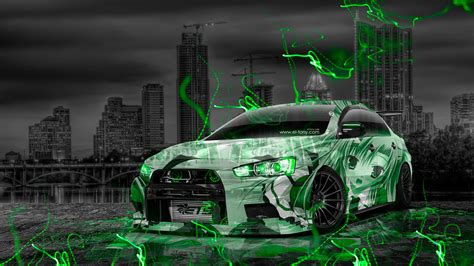 mitsubishi lancer evolution  tuning jdm anime city car