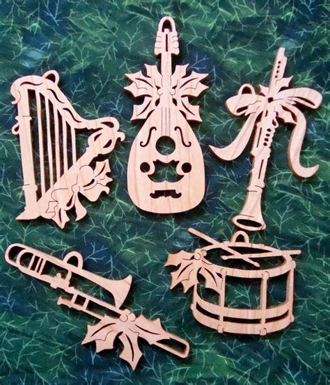 musical instrument cherry scroll saw ornament set by