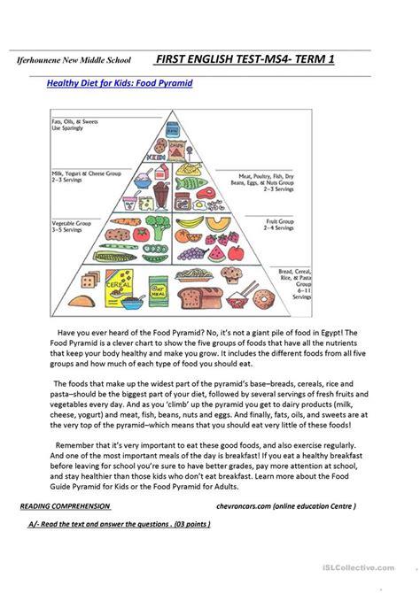 reading comprehension test about food food pyramid worksheet free esl printable worksheets