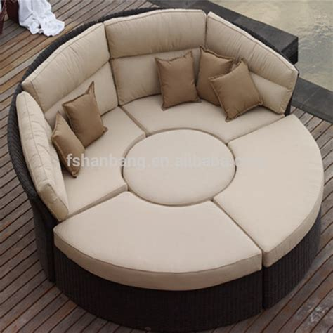 circle couch bed outdoor rattan wicker garden furniture set round sofa bed
