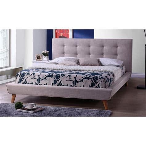upholstered platform bed full jonesy upholstered full platform bed in beige bbt6537