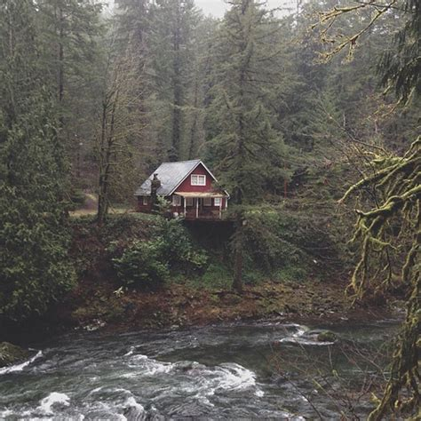 Forest Mountain Cabins by Tree Perfection Summer Landscape Home Trees Water Fall Mountains Nature Outdoors Forest Autumn