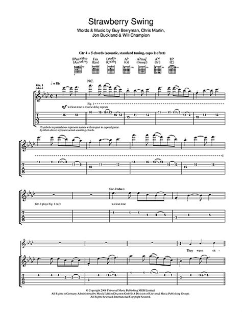 Strawberry Swing Chords by Strawberry Swing Guitar Tab By Coldplay Guitar Tab 42283