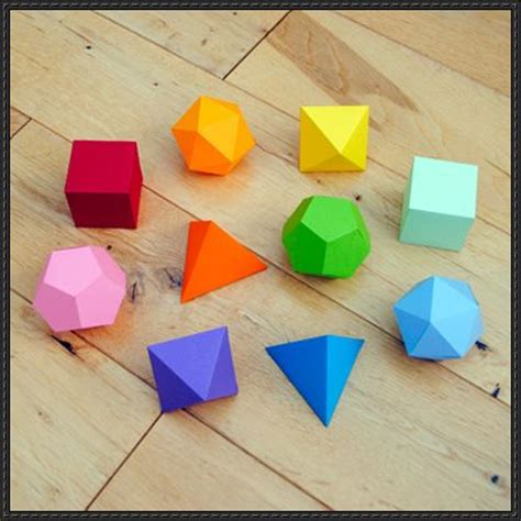 Origami Platonic Solids - new paper craft platonic solids garland free paper craft