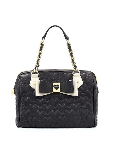 Betsey Johnson Handbag Quilted Satchel by Betsey Johnson Twotone Quilted Satchel Bag Black In