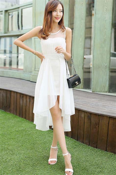 white chiffon  cutout sleeveless high  dress
