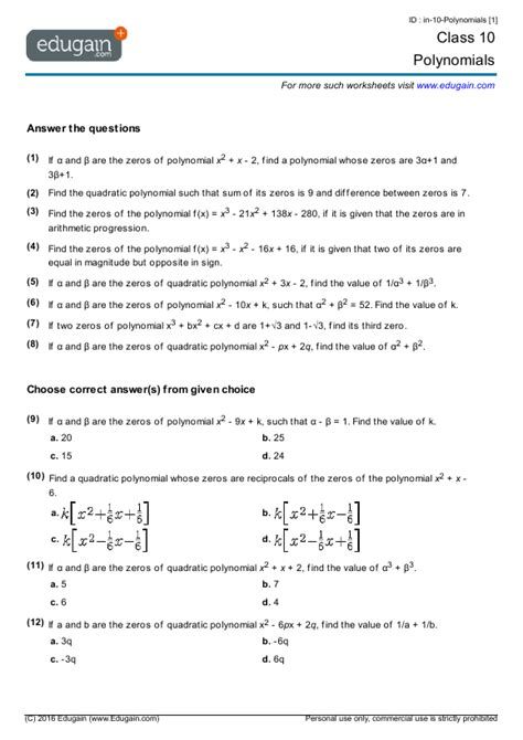 grade 10 math worksheets and problems polynomials