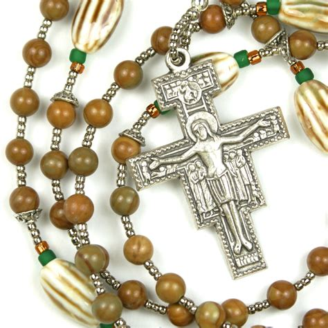 franciscan rosary franciscan crown rosary with san damiano cross by prayerbedes