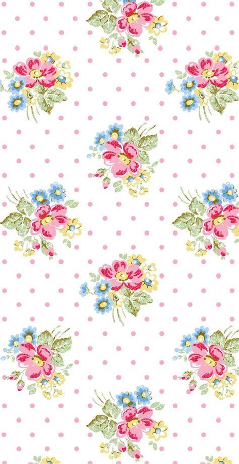 wallpaper cath kidston pink white pink blue vintage retro floral bouquet spots dots