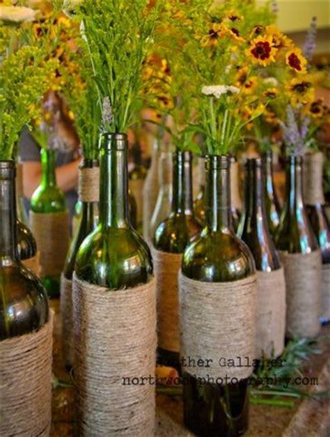 diy wine bottle centerpieces wrap rustic twine around