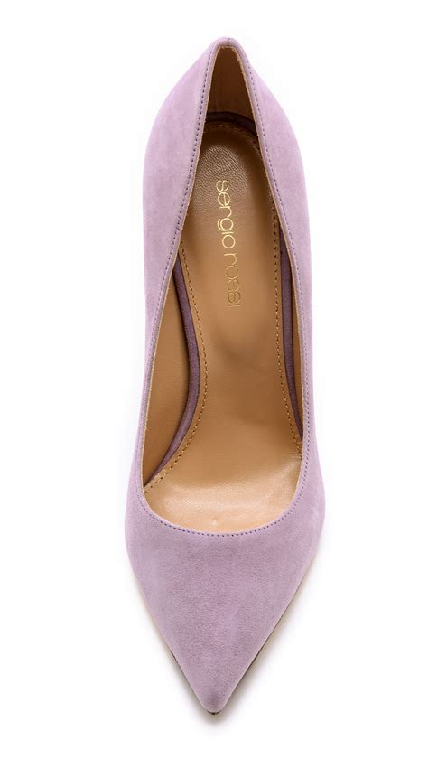 Purple And Lilac Leather Flower Embellished Suede Peep Toes At Debenhams by Lyst Sergio Godiva Pumps Lilac Blush In Purple