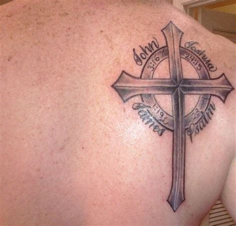 badass cross tattoos scripture with the references around the cross