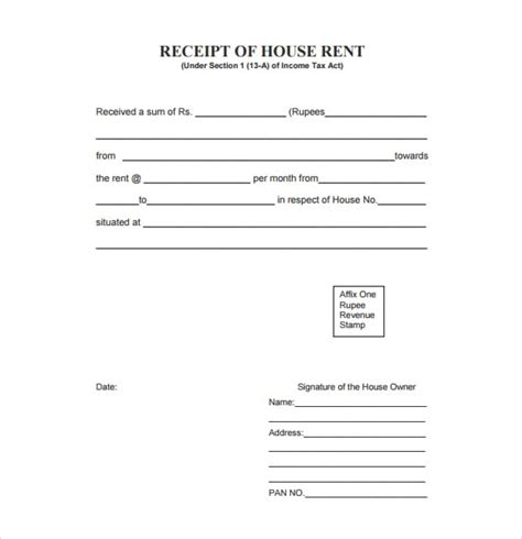 Template For Receipt Of Rent Payment by 6 Free Rent Receipt Templates Excel Pdf Formats