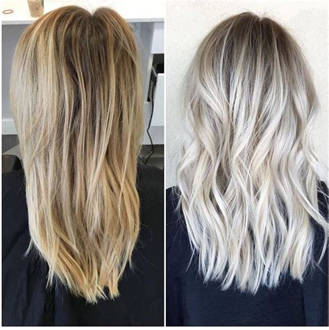 mixing brown wirh blonde haircolor results before and after icy blonde with shadowed roots habit