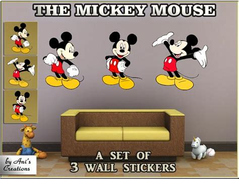 wall creations stickers aniflowerscreations the mickey mouse set of 3 wall