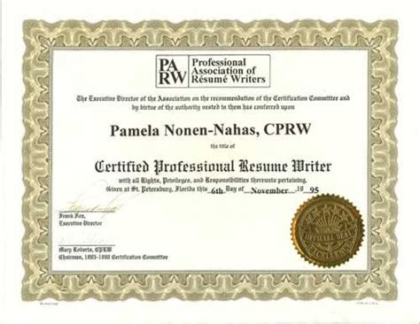 professional association of resume writers and career coach
