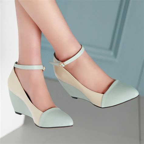 Suplier Wedges Heels aliexpress buy shoes pumps autumn pointed toe ankle high heels wedges shoes