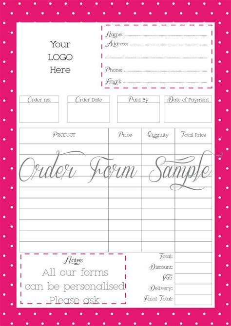 custom order form order form custom order form printable work at home