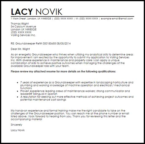 Groundskeeper Cover Letters groundskeeper cover letter sle livecareer