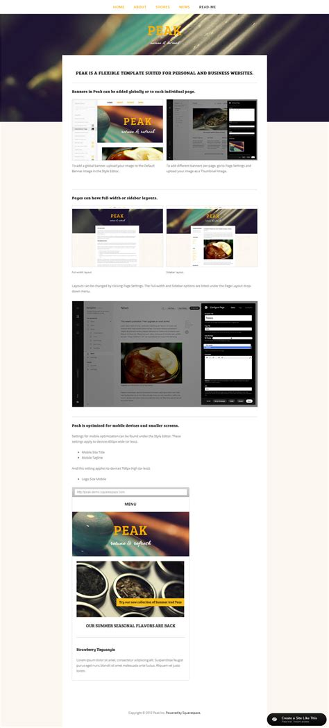 Peak Read Me Jpg Squarespace Personal Website Templates