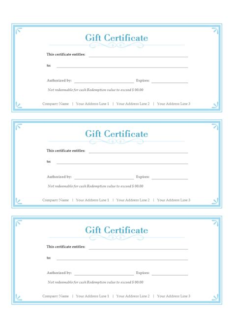 Simple Gift Certificate   Free Simple Gift Certificate