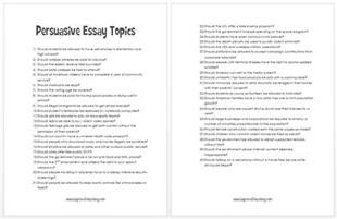 Ideas For Persuasive Essays by Type Essays 1 The Writing Center