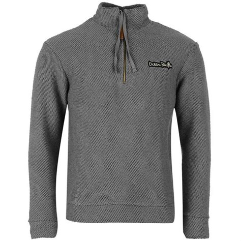 Ziper Waffle pacific mens quarter zip waffle top jumpers knit pullover sweater ebay