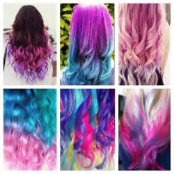 different hair colors pink blue orange yellow purple different colored hair