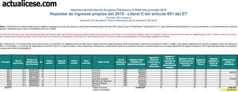 formato 1001 medios magenitcos 2016 formato 1007 informaci 243 n de ingresos propios recibidos