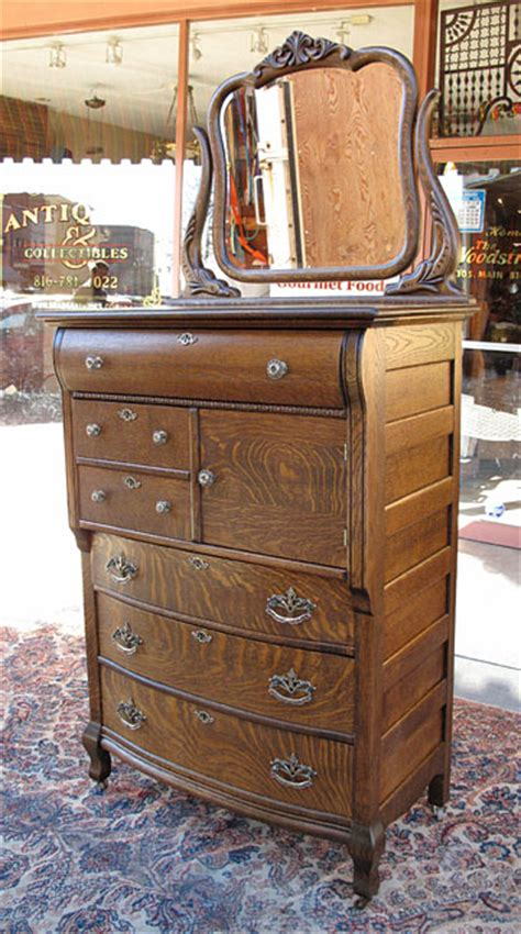 antique quartersawn oak hat box highboy dresser a