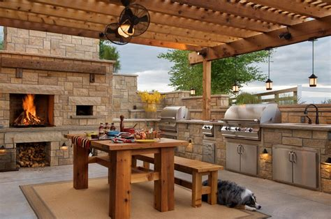 built in barbecue grill backyard pavilion plans farmhouse