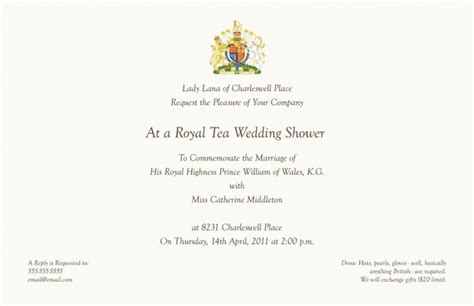 Royal Invitation Letter Exle Royal Tea Invitations