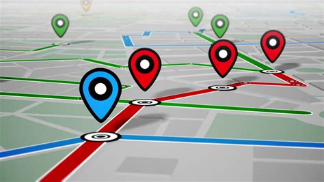 map gps navigator seamless loop motion background aerial view of city buildings 3d render with point map