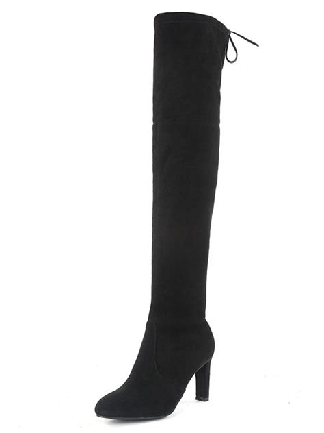 black the knee boots stretch suede laced back high