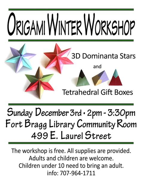 origami workshop winter origami workshop fort bragg library