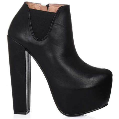 buy enhance heeled platform chelsea boots black leather