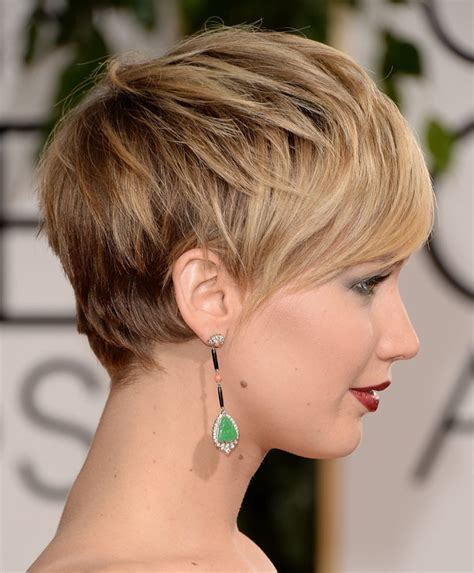 is jennifer lawrence hair cut above ears or just tucked behind jennifer lawrence pixie cut side profile lips and