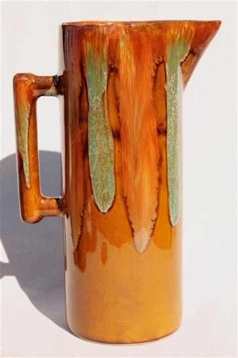 Kitchen Bar Furniture Vintage Dryden Drip Glaze Pottery Tall Pitcher Amp Drinking