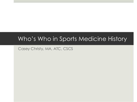 who s who in sports medicine