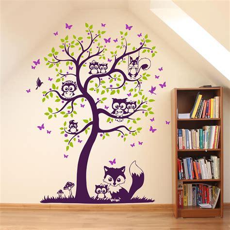 Wandtattoo Kinderzimmer Eule Baum by Wandtattoo Baum Mit Eulen Eichh 246 Rnchen Fuchs Und