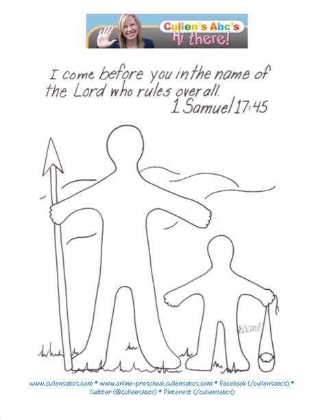 preschool coloring pages david and goliath david and goliath bible memory verse coloring page for a