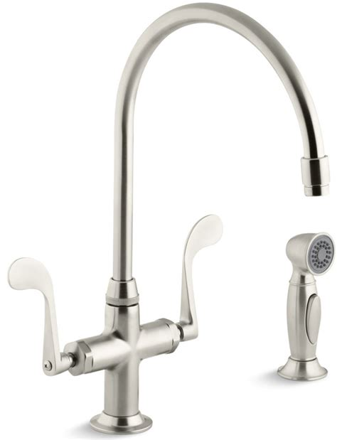 kohler essex kitchen faucet kohler essex 174 handle single with side spray kitchen faucet brushed nickel k 8763 bn