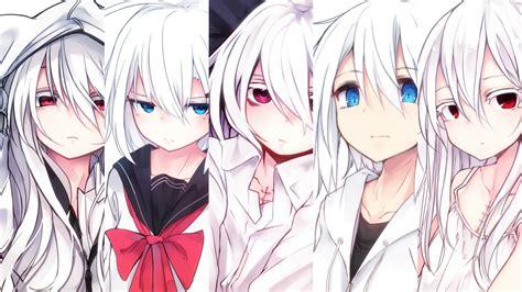 anime girl white hair wallpaper girls group full hd wallpaper and background image