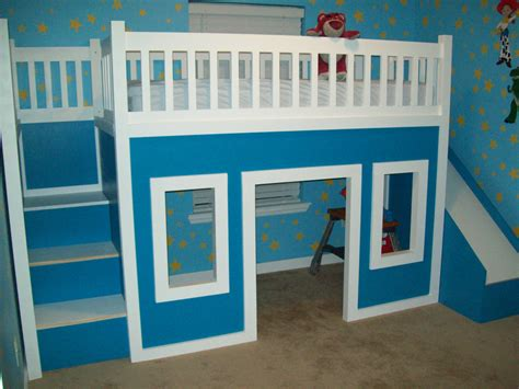 Playhouse Loft Bed by White Playhouse Loft Bed With Stairs And Slide