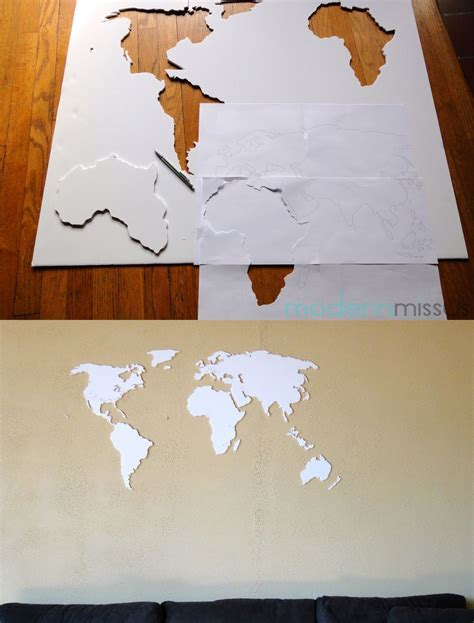 DIY world map wall art made with foam board.   DIY   World