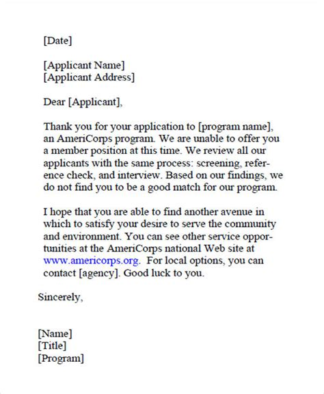 Failed Background Check Letter 9 Application Rejection Letters Templates For The