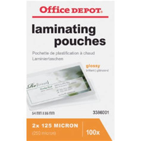 office depot laminating pouches 250 2 x 125 micron for credit card 54x86mm clear gloss pack of