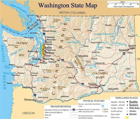 a physical map of washington map of washington state outravelling maps guide