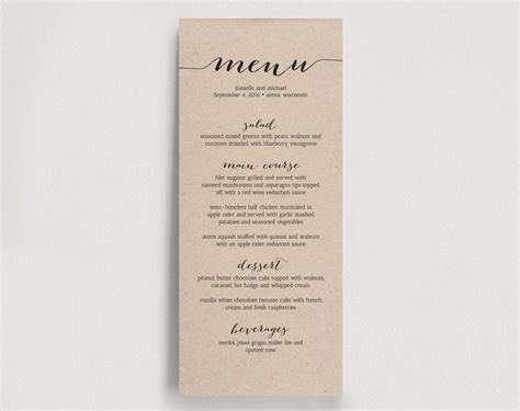 wedding dinner menu printable instant download
